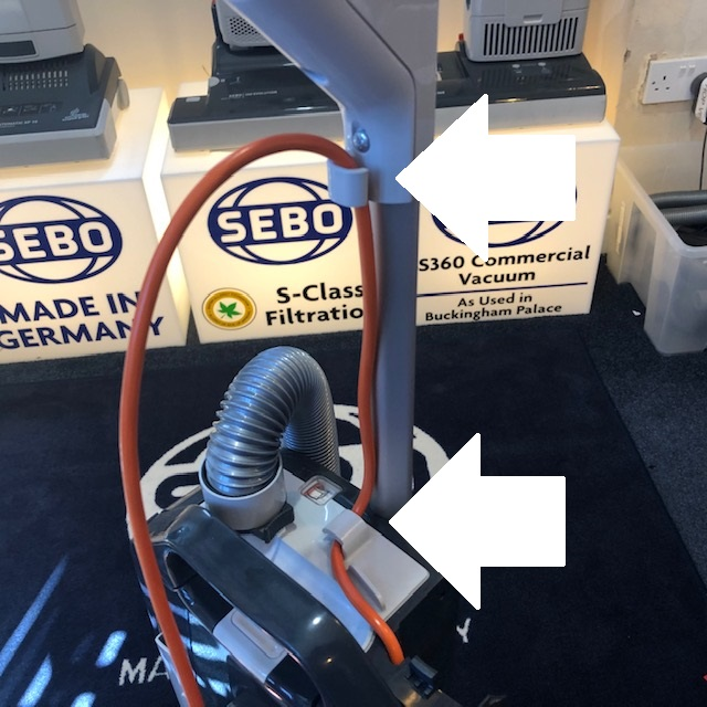 How to route the power cord on a Sebo Evolution.